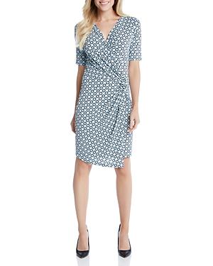 Karen Kane Tile Print Faux Wrap Dress