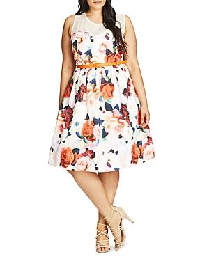 New City Chic Floral Fever Dress, Orange