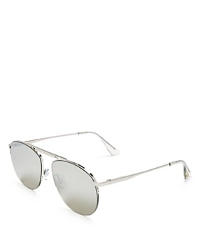 Le Specs - Women's Liberation Mirrored Brow Bar Aviator Sunglasses, 57mm