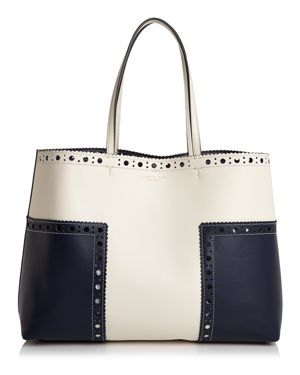 Tory Burch Block-t Brogue Color Block Leather Tote 2513693