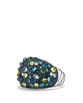 David Yurman - Cable Berries Dome Ring with Hampton Blue Topaz, Peridot and Diamonds