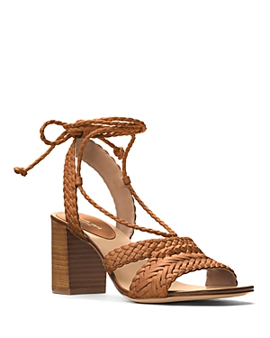 Michael Kors Collection Lawson Woven Lace Up Block Heel Sandals