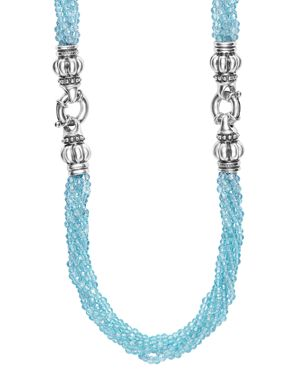 Lagos Sterling Silver Maya Escape Blue Apatite Convertible Bracelet and Necklace, 26