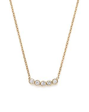 Zoe Chicco 14K Yellow Gold Delicate Five Diamond Necklace, 16