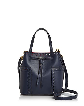 e1c5d02b45098 Tory Burch Block-T Brogue Drawstring Mini Leather Bucket Bag ...