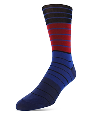 Bruno Magli Mercerized Cotton Blend Stripe Dress Socks