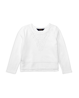 Ralph Lauren Childrenswear Girls' Lace Trimmed French Terry Pullover - Sizes 2-6X