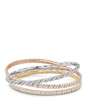 David Yurman - Pavé Flex Three Row Bracelet with Diamonds in 18K Gold