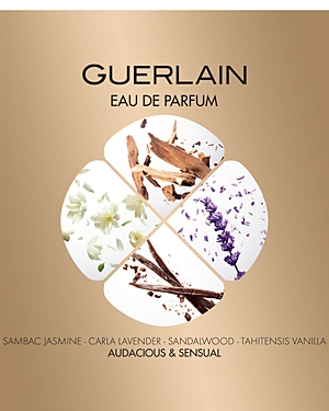 Key Notes: - Top notes: bergamot, mandarin, pear - Middle notes: neroli, sambac jasmine, lavender - Base notes: iris, vanilla, sandalwood About The Fragrance: Mon Guerlain, the House\\\'s new fragrance, is a tribute to today\\\'s femininity-a strong, free and sensual femininity, inspired by Angelina Jolie. My invisible tattoo, my fragrance, Mon Guerlain. This fresh oriental fragrance is produced with exceptional raw materials such as lavender, jasmine, sandalwood and vanilla. The Quadrilobe bottle is