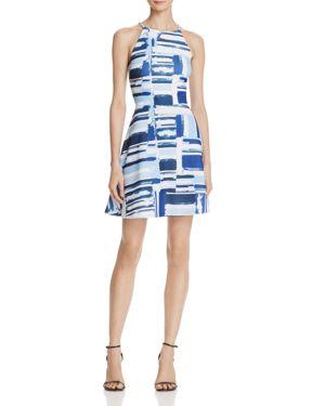 Aqua High Neck Printed Flare Dress - 100% Exclusive