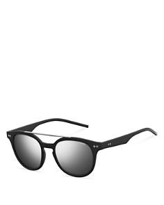 Polaroid - Men's Polarized Mirrored Brow Bar Round Sunglasses, 51mm