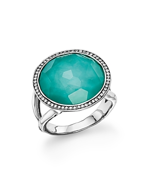 Ippolita Sterling Silver Stella Lollipop Ring in Turquoise Doublet with Diamonds-Jewelry & Accessories