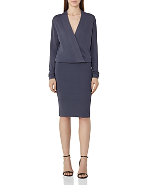 Reiss Lisbeth Knit Faux-Wrap Dress