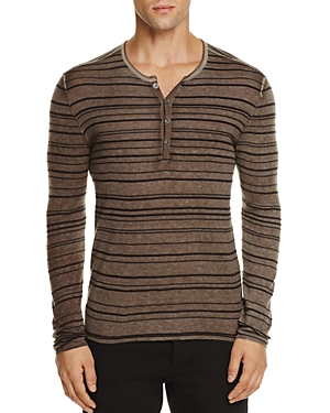 John Varvatos Collection Silk Cashmere Striped Henley Sweater