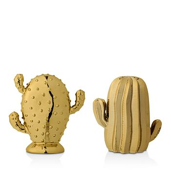 Bloomingville - Decorative Ceramic Gold Cactus, Set 2