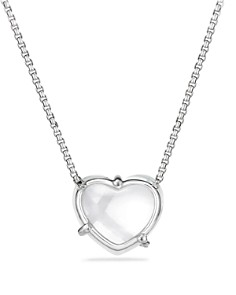 David Yurman - Le Petit Coeur Sculpted Heart Chain Necklace with Crystal and Diamonds