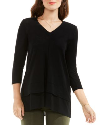 TWO BY VINCE CAMUTO PETITES MIXED MEDIA TOP