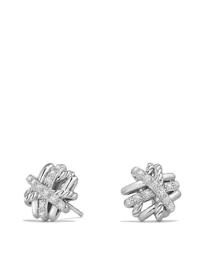 David Yurman Crossover Earrings With Diamonds