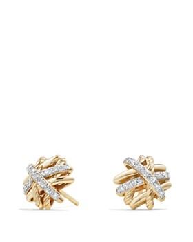e3a7bd374de1e David Yurman - Crossover Earrings with Diamonds in 18K Gold ...