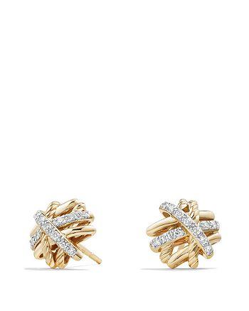 David Yurman - Crossover Earrings with Diamonds in 18K Gold