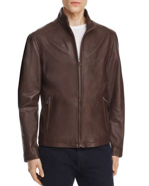 Cole Haan Lambskin Leather Stand Collar Jacket