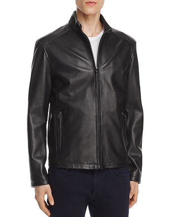 Cole Haan - Lambskin Leather Stand Collar Jacket