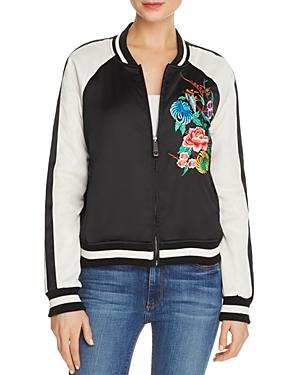 True Religion Embroidered Satin Bomber Jacket