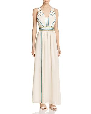 Adelyn Rae Suzanne Fringe-Trim Maxi Dress