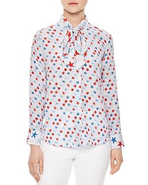 Sandro Space Tie-Neck Printed Silk Shirt