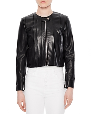 Sandro Fes Cropped Leather Jacket