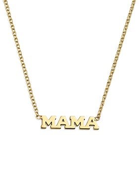 Zoë Chicco - 14K Yellow Gold Itty Bitty Mama Necklace, 16""