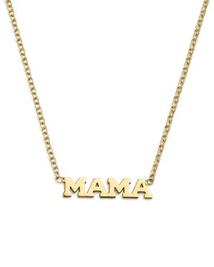 Zoe Chicco 14K Yellow Gold Itty Bitty Mama Necklace, 16
