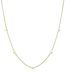 """Zoë Chicco - 14K Yellow Gold Star Station Necklace, 16"""""""