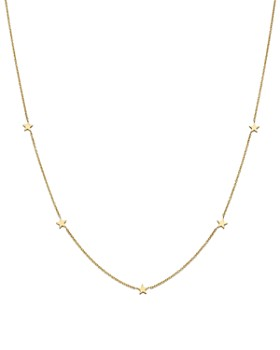 Zoë Chicco - 14K Yellow Gold Star Station Necklace, 16""