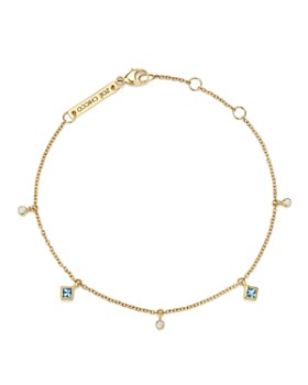 Zoë Chicco - 14K Yellow Gold Diamond and Aquamarine Charm Bracelet - 100% Exclusive