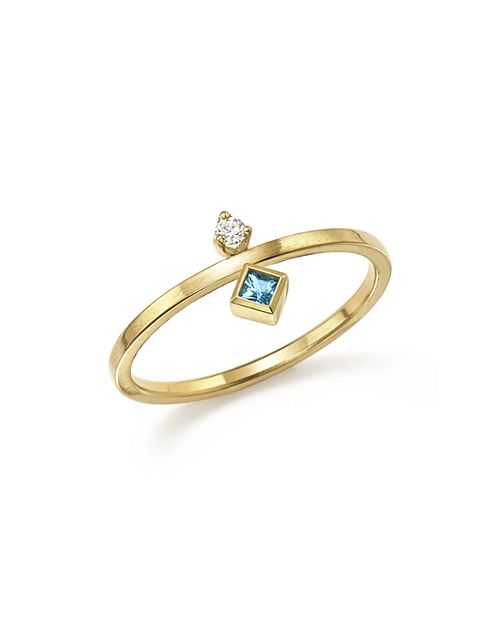 Zoë Chicco - 14K Yellow Gold Wire Ring with Stacked Aquamarine and Diamond - 100% Exclusive