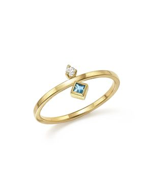 Zoe Chicco 14K Yellow Gold Wire Ring with Stacked Aquamarine and Diamond - 100% Exclusive