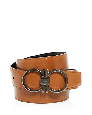 Salvatore Ferragamo Reversible Calfskin Belt with Gunmetal Double Gancini Buckle