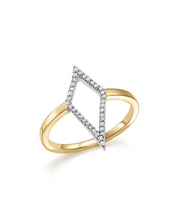 Adina Reyter - Sterling Silver and 14K Yellow Gold Pavé Diamond Cutout Ring