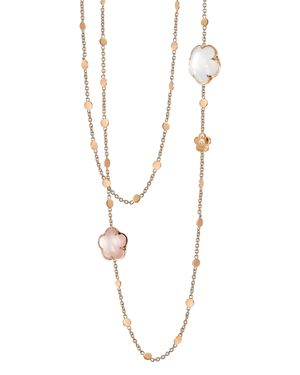 Pasquale Bruni 18K Rose Gold Floral Charm Necklace with Rose Quartz and Milky Quartz, 39.5