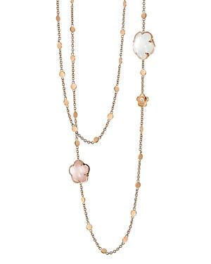Pasquale Bruni 18K Rose Gold Floral Charm Necklace with Rose Quartz and Milky Quartz, 39.5