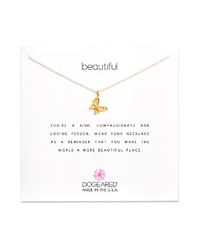 Dogeared - 14K Gold-Dipped Butterfly Necklace, 16""