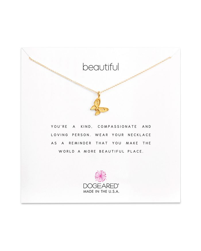 """Dogeared - 14K Gold-Dipped Butterfly Necklace, 16"""""""