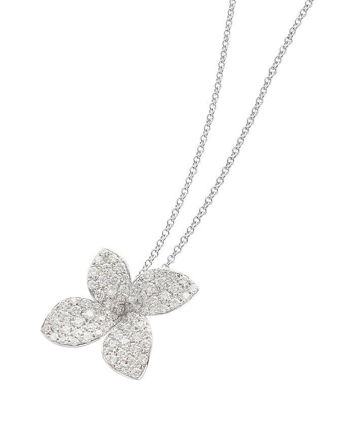 """Pasquale Bruni - 18K White Gold Secret Garden Four Petal Pavé Diamond Pendant Necklace, 20"""""""