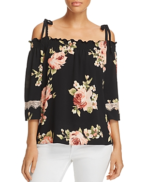 Status by Chenault Floral Print Cold-Shoulder Top