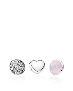 PANDORA Charms - Sterling Silver, Opalescent Pink Crystal & Cubic Zirconia October Petites, Set of 3 - Bloomingdale's_0