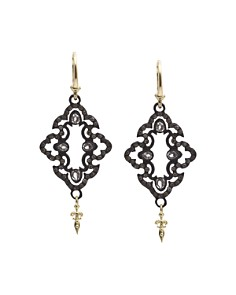 Armenta 18K Yellow Gold and Blackened Sterling Silver Old World Champagne Diamond and White Sapphire Scroll Drop Earrings - Bloomingdale's_0