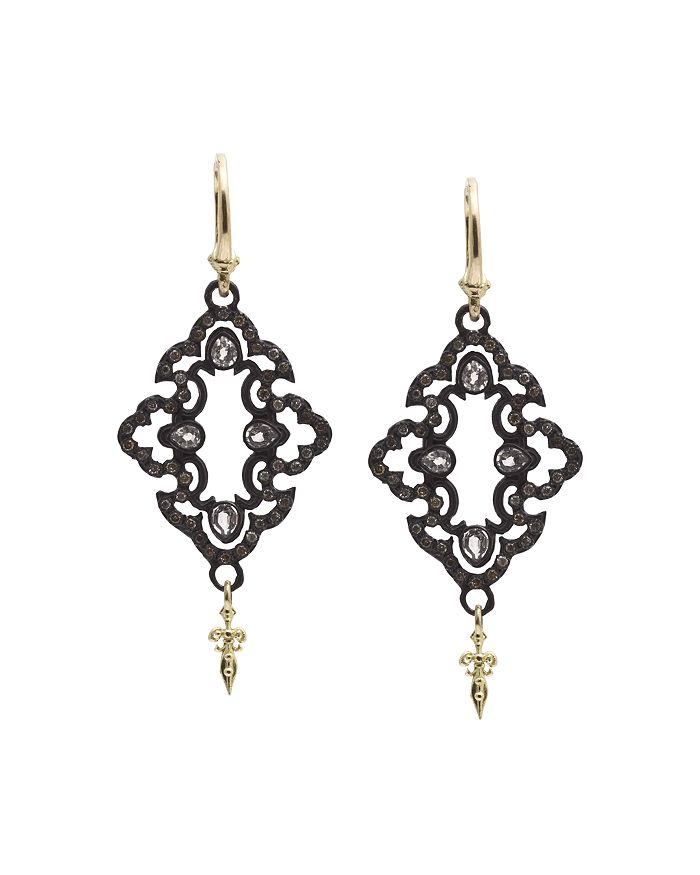 Armenta - 18K Yellow Gold and Blackened Sterling Silver Old World Champagne Diamond and White Sapphire Scroll Drop Earrings