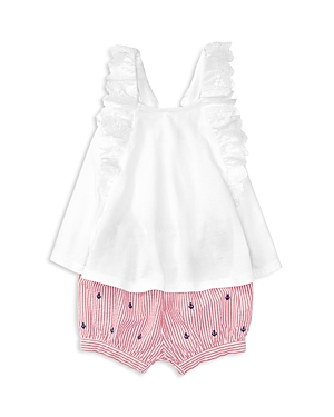 Ralph Lauren Childrenswear Girls' Eyelet Flutter Top & Seersucker Shorts Set - Baby