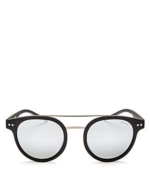 Polaroid Polarized Mirrored Brow Bar Round Sunglasses, 49mm